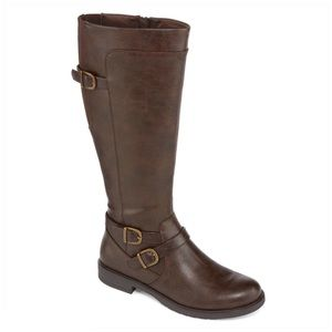 Brown Tall Low Heel Riding Boots Size 7M NEW